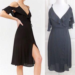 Forever 21 Black Cold Shoulder Wrap Ruffle Dress